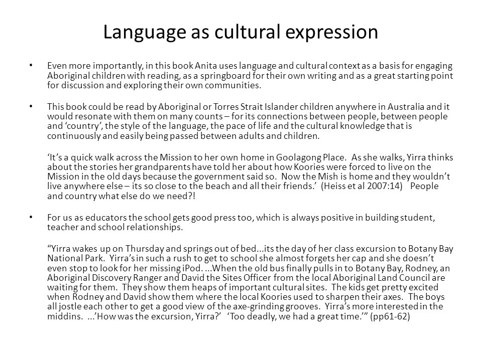 Language as cultural expression