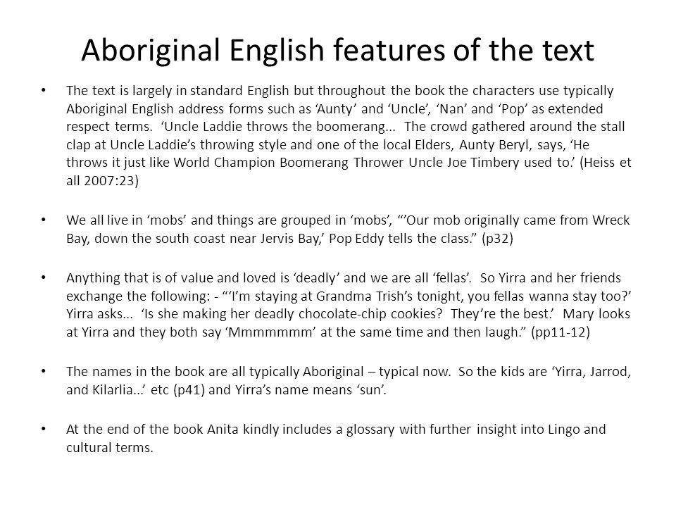 Aboriginal English features of the text