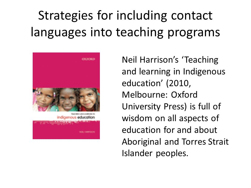 Strategies for including contact languages into teaching programs