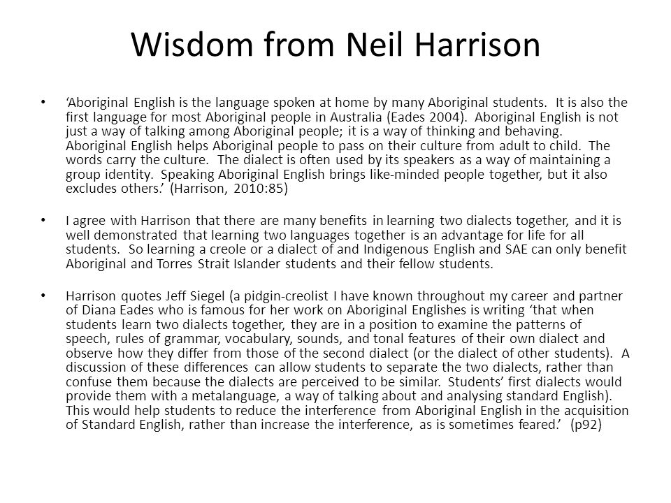 Wisdom from Neil Harrison