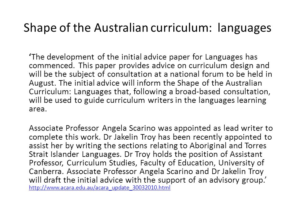 Shape of the Australian curriculum: languages