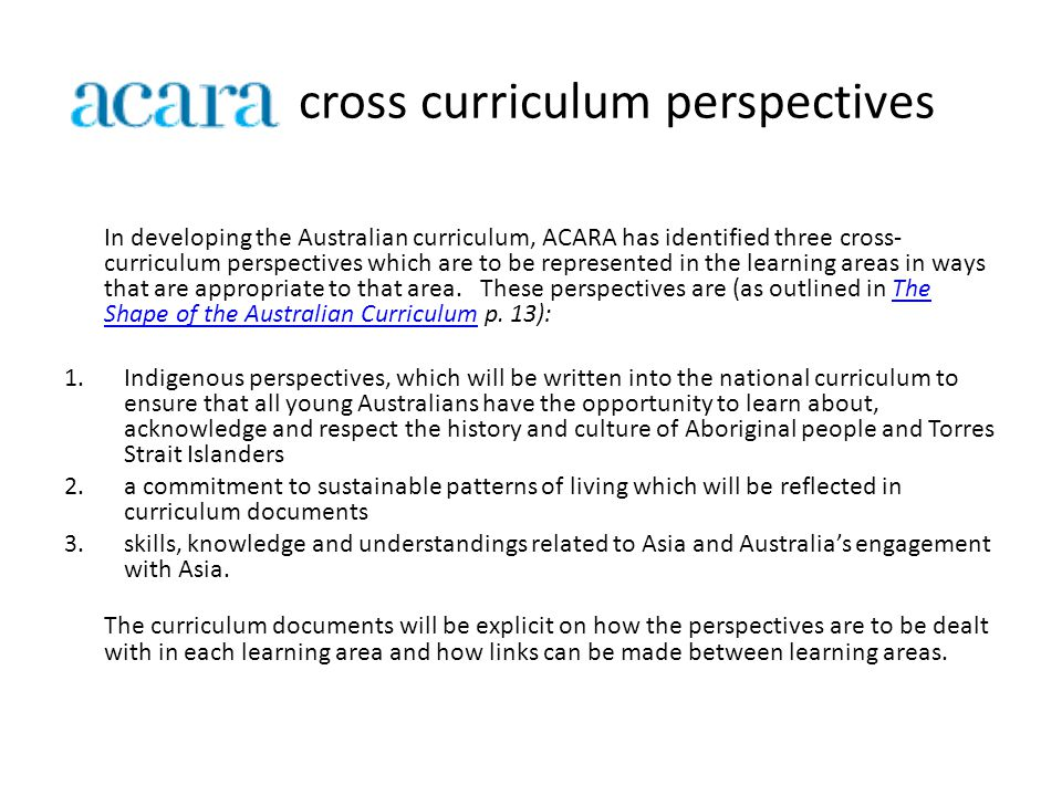 cross curriculum perspectives