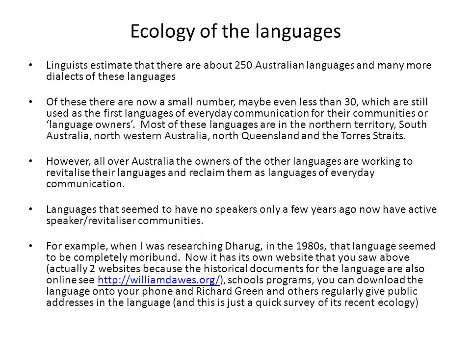 Ecology of the languages