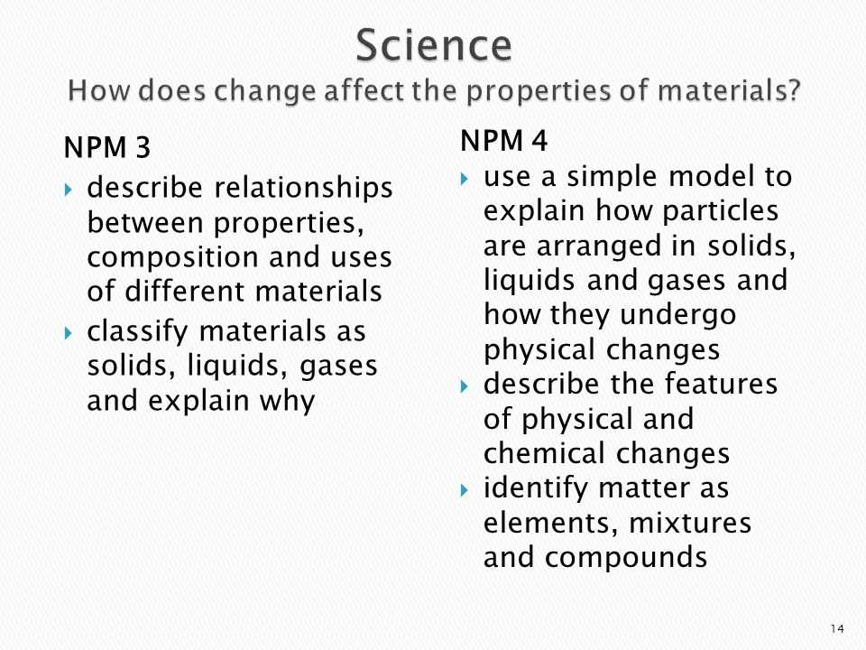 Science How does change affect the properties of materials