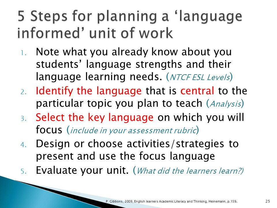 5 Steps for planning a 'language informed' unit of work