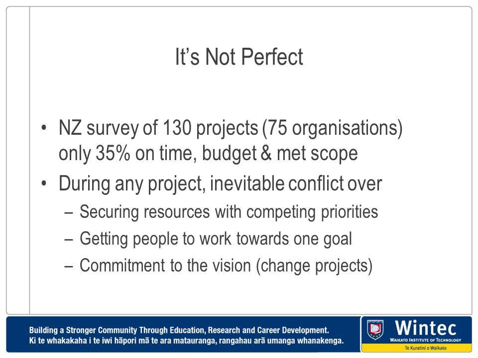 It's Not Perfect NZ survey of 130 projects (75 organisations) only 35% on time, budget & met scope.
