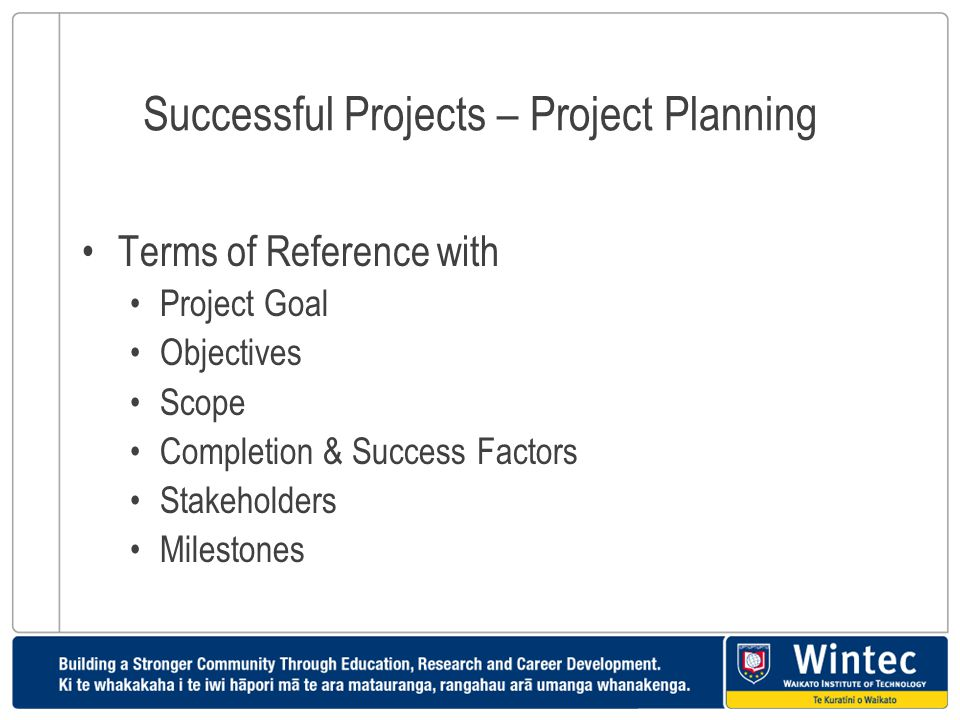Successful Projects – Project Planning