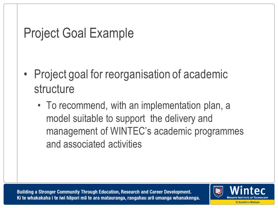 Project Goal Example Project goal for reorganisation of academic structure.