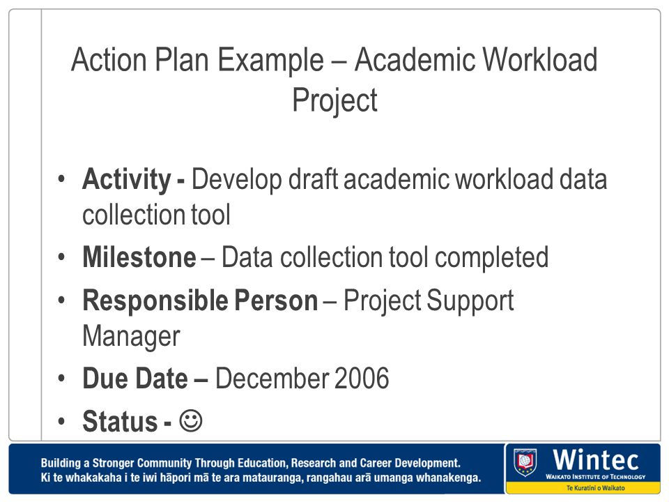 Action Plan Example – Academic Workload Project