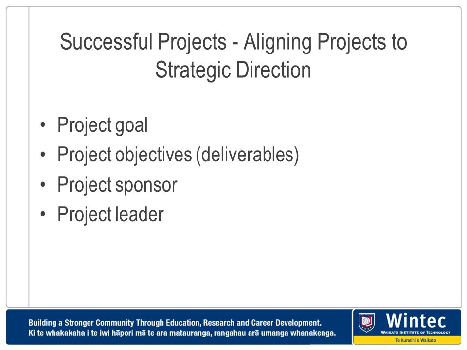 Successful Projects - Aligning Projects to Strategic Direction