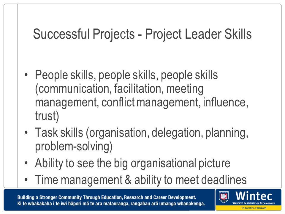 Successful Projects - Project Leader Skills