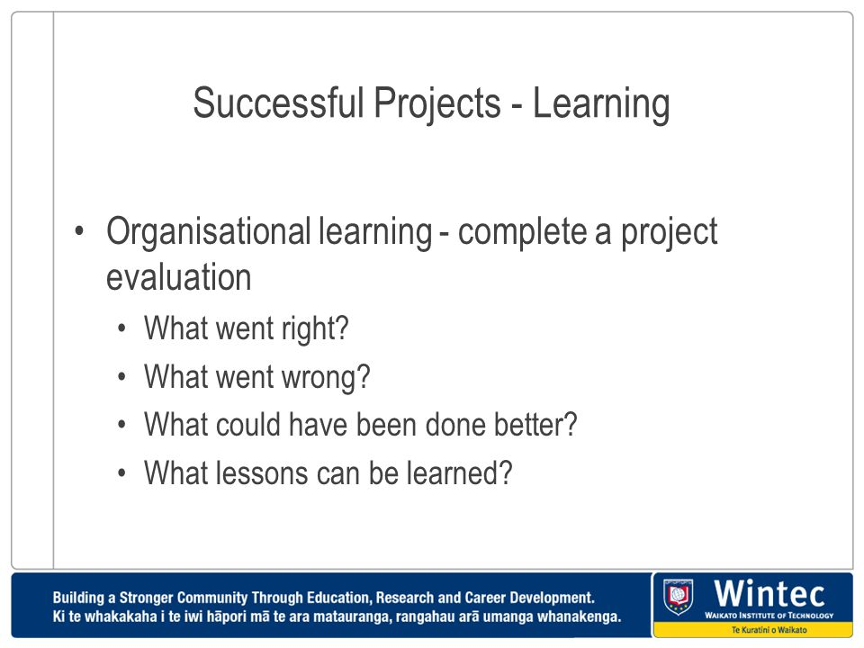 Successful Projects - Learning