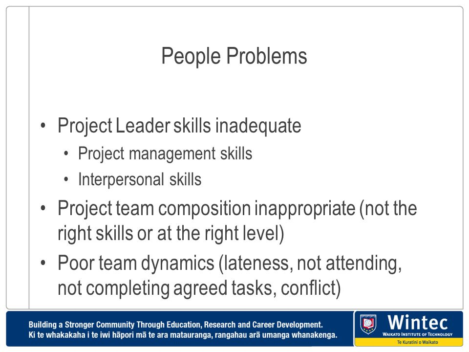 People Problems Project Leader skills inadequate