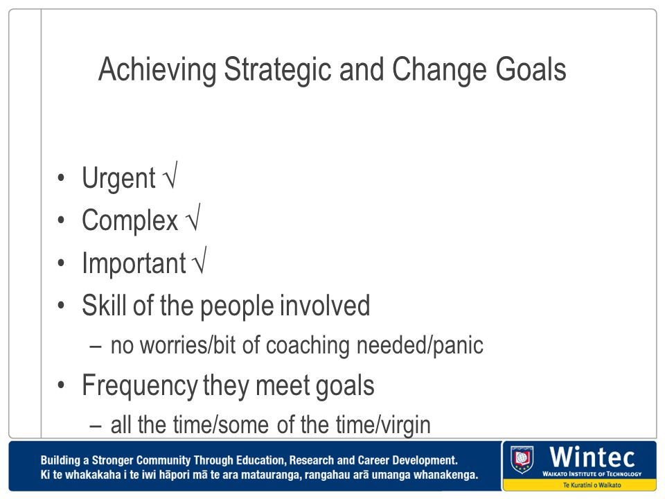 Achieving Strategic and Change Goals