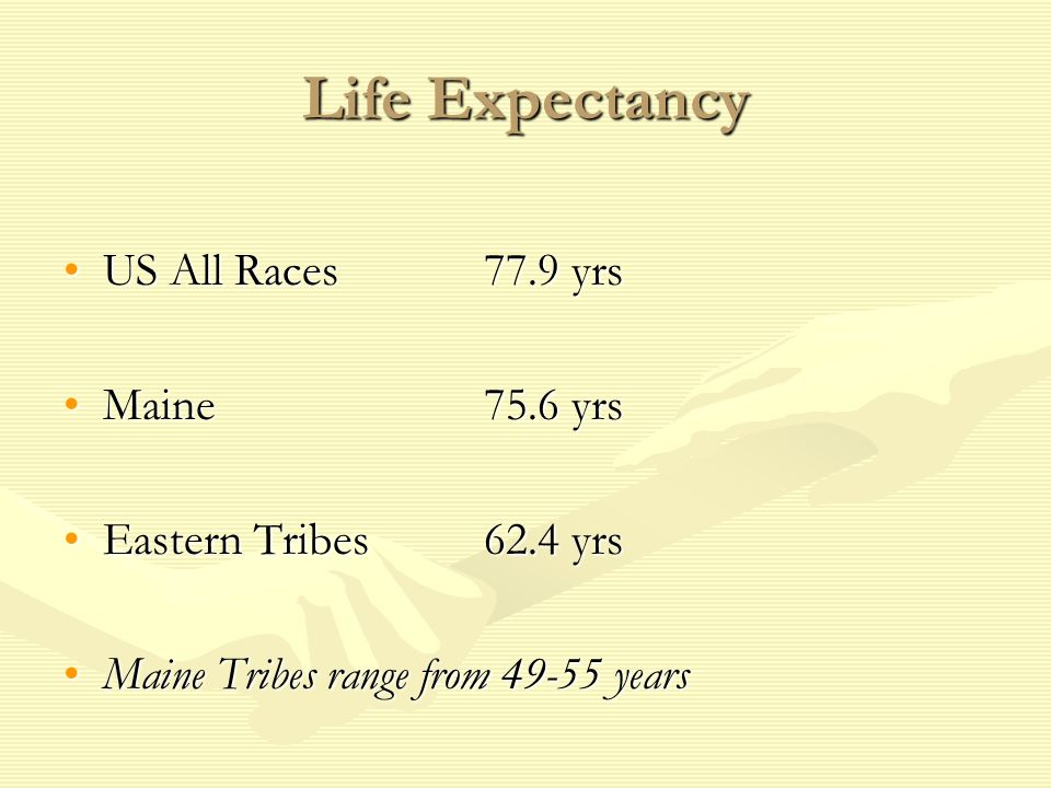 Life Expectancy US All Races 77.9 yrs Maine 75.6 yrs