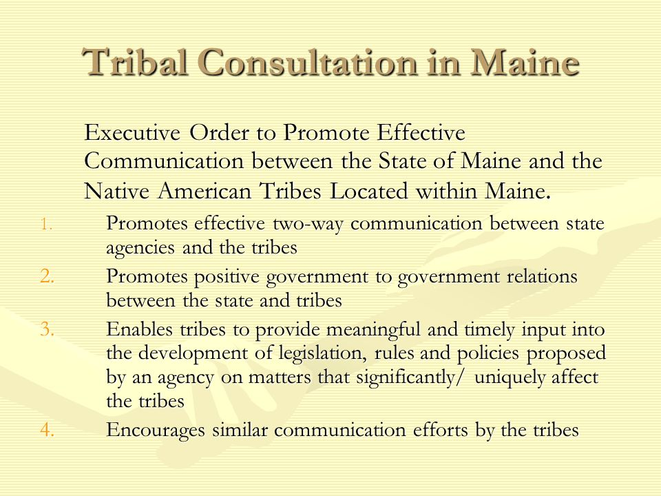 Tribal Consultation in Maine
