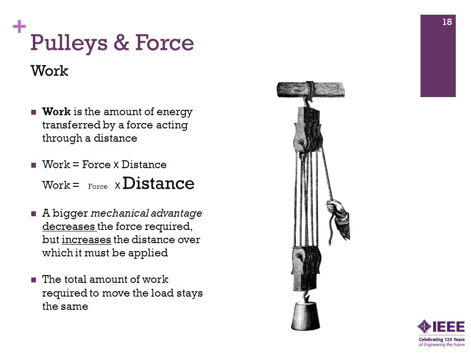 Pulleys & Force Work. Work is the amount of energy transferred by a force acting through a distance.