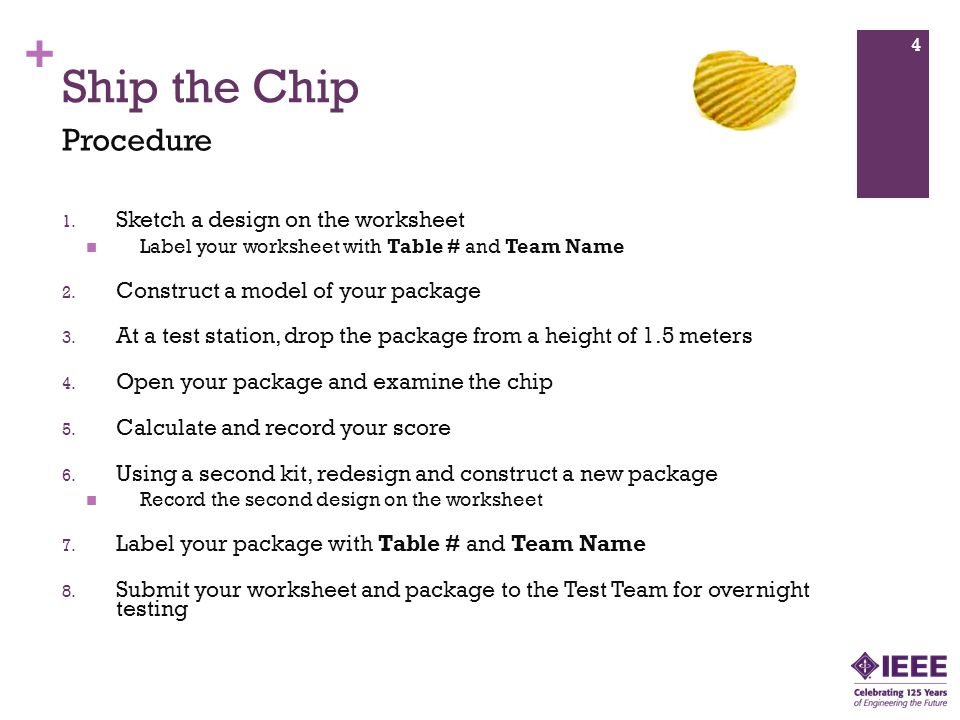 Ship the Chip Procedure Sketch a design on the worksheet