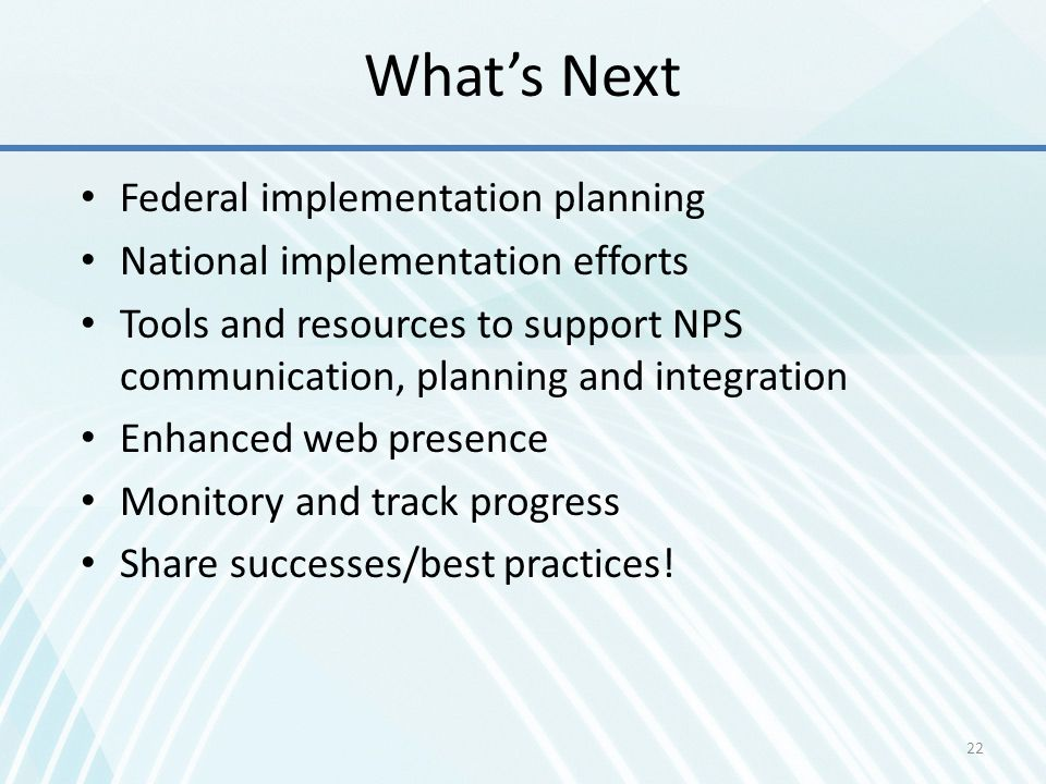 What's Next Federal implementation planning