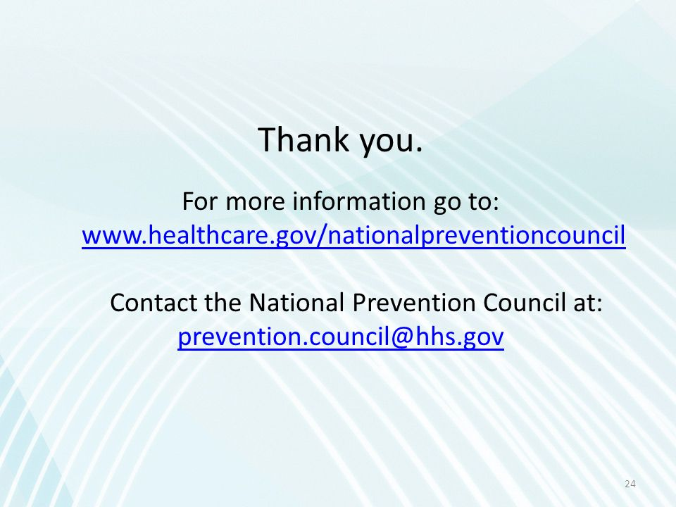 Contact the National Prevention Council at: