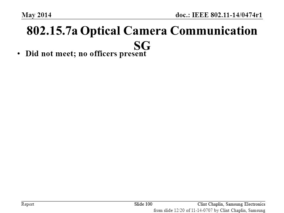 802.15.7a Optical Camera Communication SG