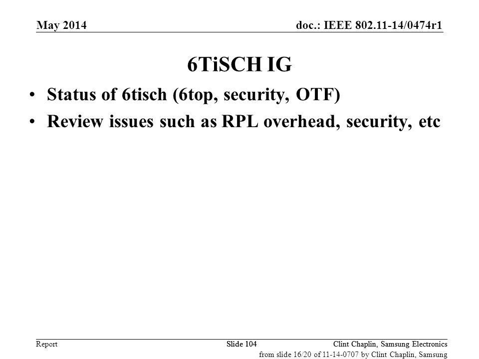 6TiSCH IG Status of 6tisch (6top, security, OTF)