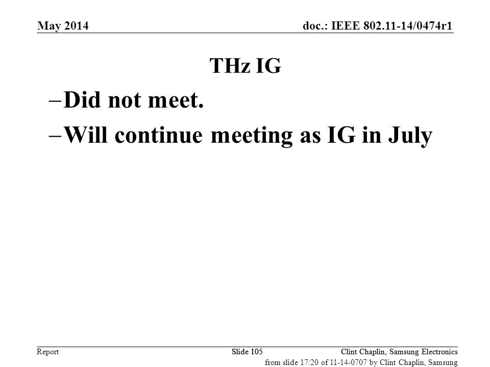 Will continue meeting as IG in July