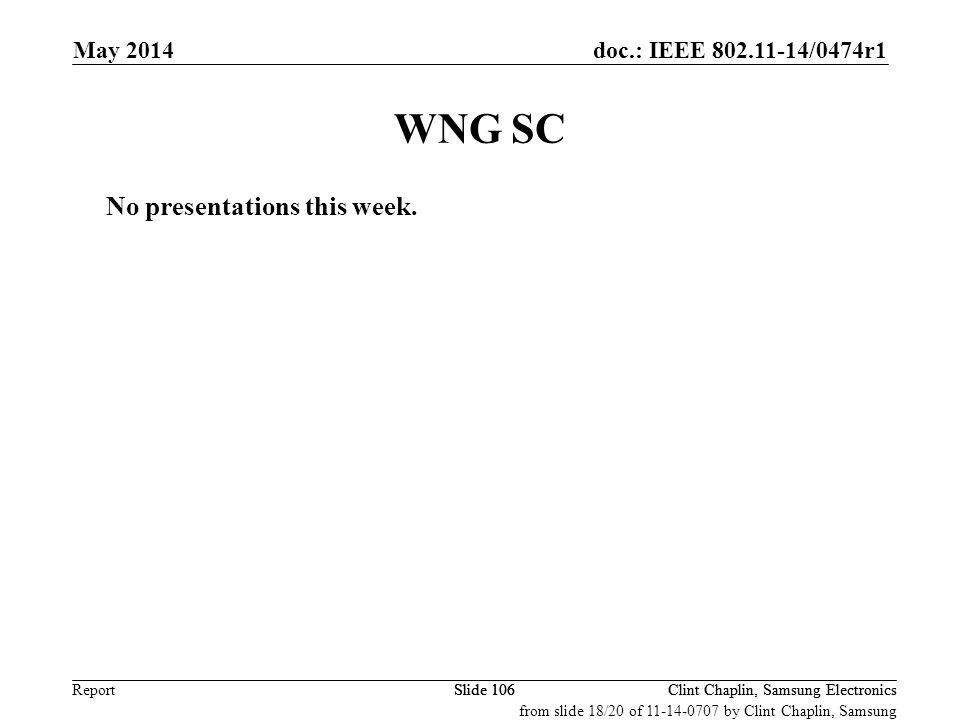 WNG SC No presentations this week. May 2014 September 2008 May 2008