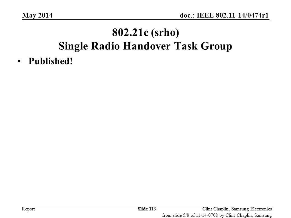 802.21c (srho) Single Radio Handover Task Group