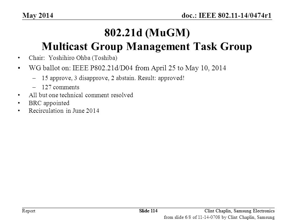 802.21d (MuGM) Multicast Group Management Task Group