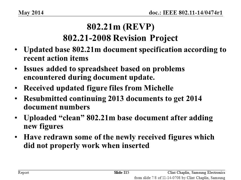 802.21m (REVP) 802.21-2008 Revision Project