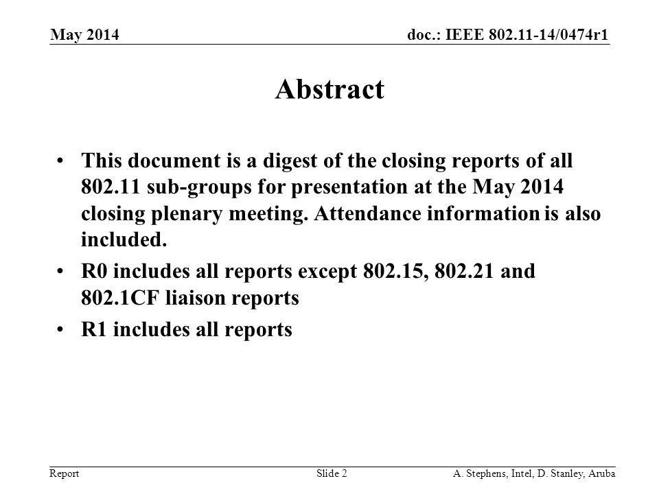May 2006 doc.: IEEE 802.11-06/0528r0. May 2014. Abstract.
