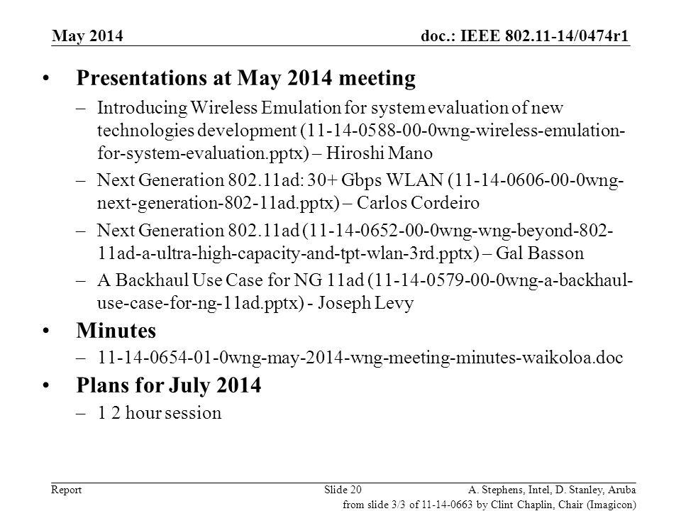 Presentations at May 2014 meeting