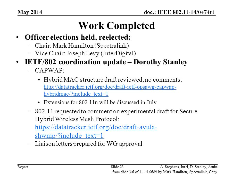 Work Completed Officer elections held, reelected: