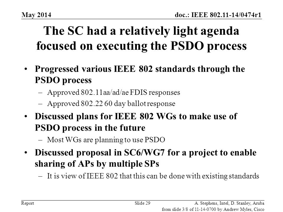 May 2006 doc.: IEEE 802.11-06/0528r0. May 2014. The SC had a relatively light agenda focused on executing the PSDO process.