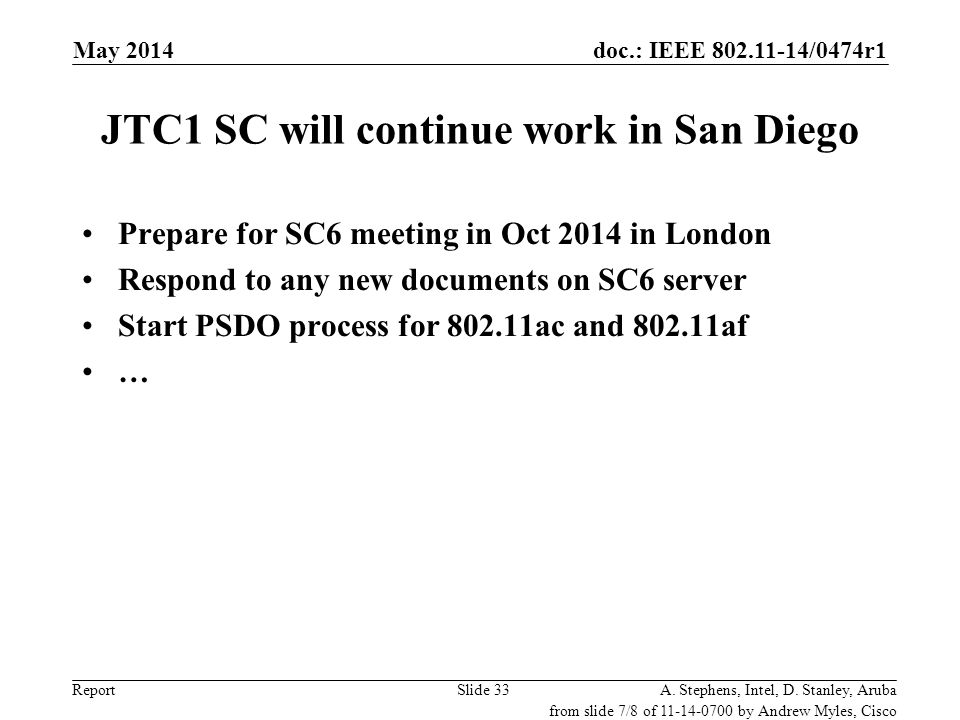 JTC1 SC will continue work in San Diego