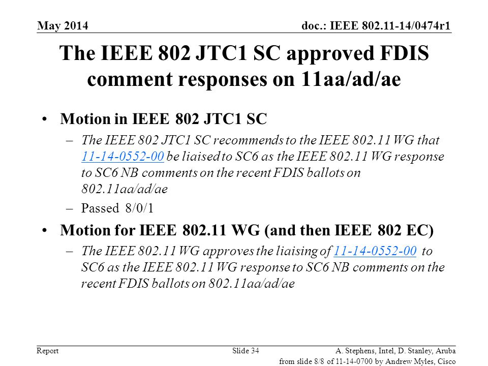 The IEEE 802 JTC1 SC approved FDIS comment responses on 11aa/ad/ae