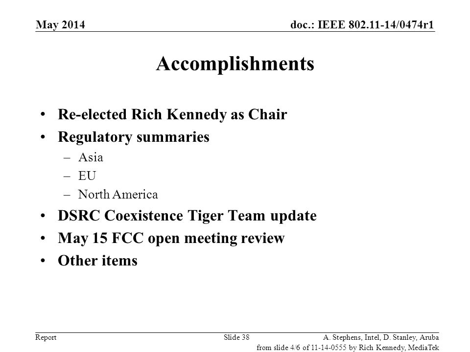Accomplishments Re-elected Rich Kennedy as Chair Regulatory summaries