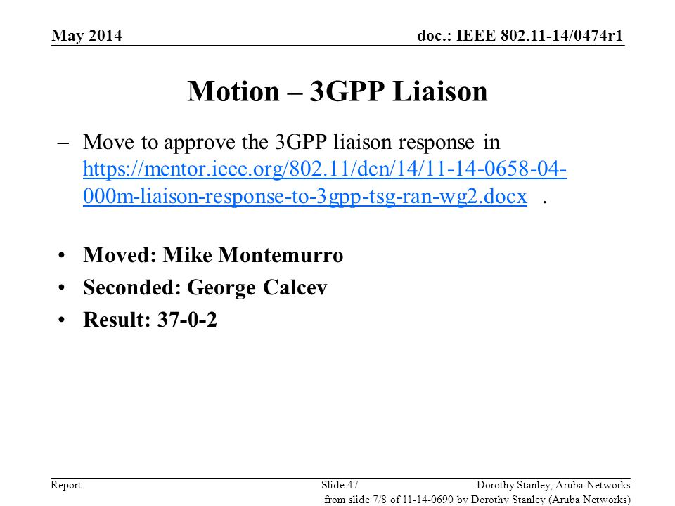 July 2010 doc.: IEEE 802.11-11/0291r0. May 2014. Motion – 3GPP Liaison.