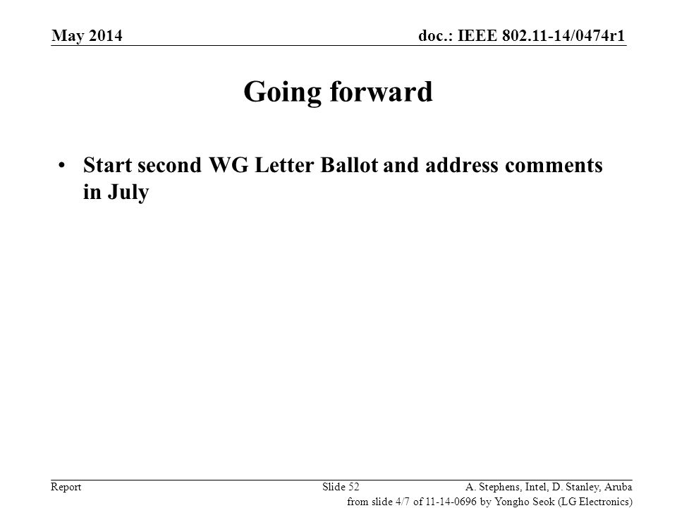 May 2006 doc.: IEEE 802.11-06/0528r0. May 2014. Going forward. Start second WG Letter Ballot and address comments in July.
