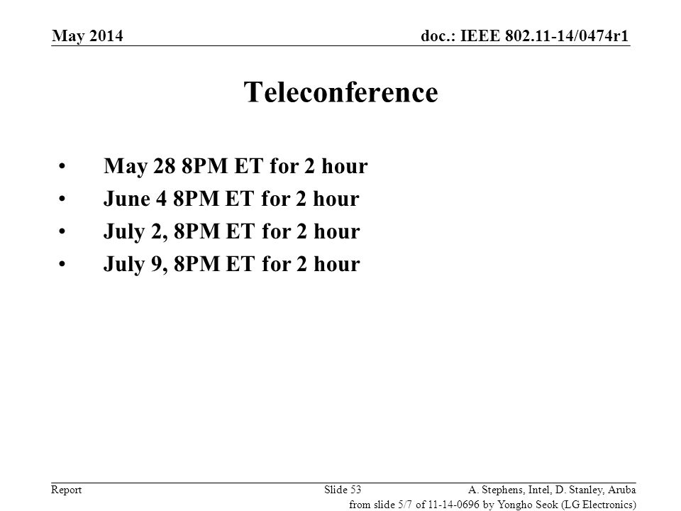 Teleconference May 28 8PM ET for 2 hour June 4 8PM ET for 2 hour