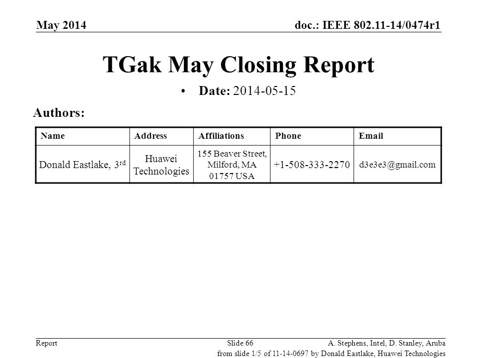 TGak May Closing Report