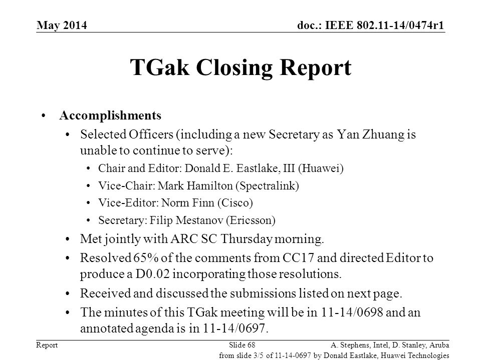 TGak Closing Report Donald Eastlake, Huawei Technologies