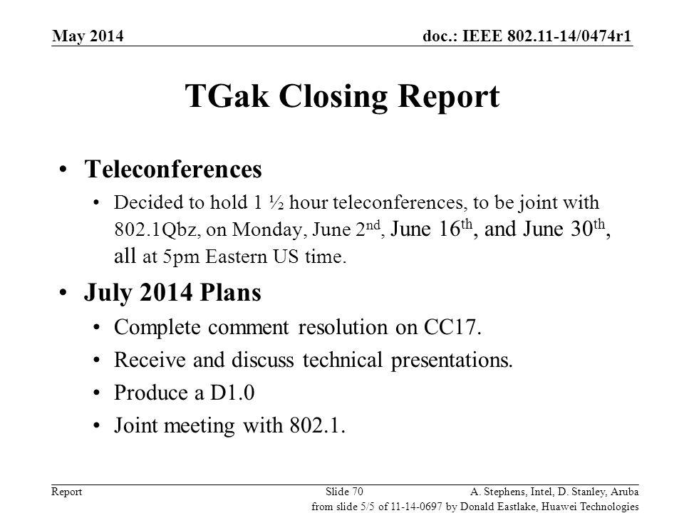 TGak Closing Report Teleconferences July 2014 Plans