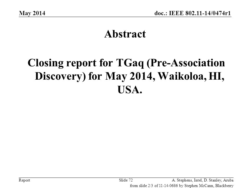 May 2014 doc.: IEEE 802.11-14/0686r0. May 2014. Abstract. Closing report for TGaq (Pre-Association Discovery) for May 2014, Waikoloa, HI, USA.