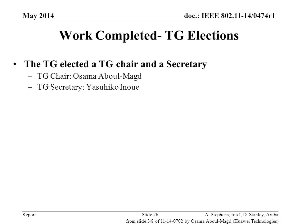 Work Completed- TG Elections