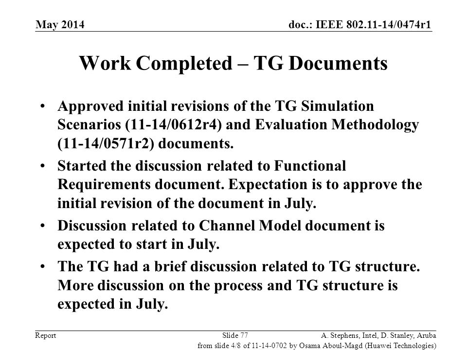 Work Completed – TG Documents