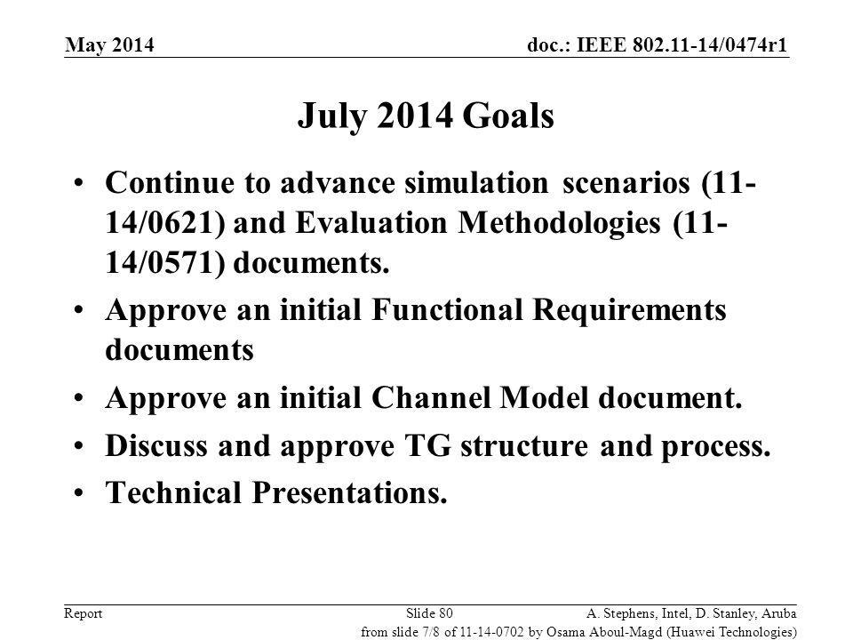 November 2011 doc.: IEEE 802.11-11/0xxxr0. May 2014. July 2014 Goals.