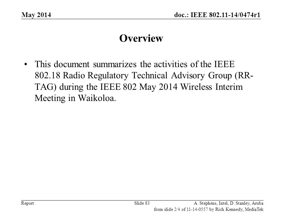 May 2006 doc.: IEEE 802.11-06/0528r0. May 2014. Overview.