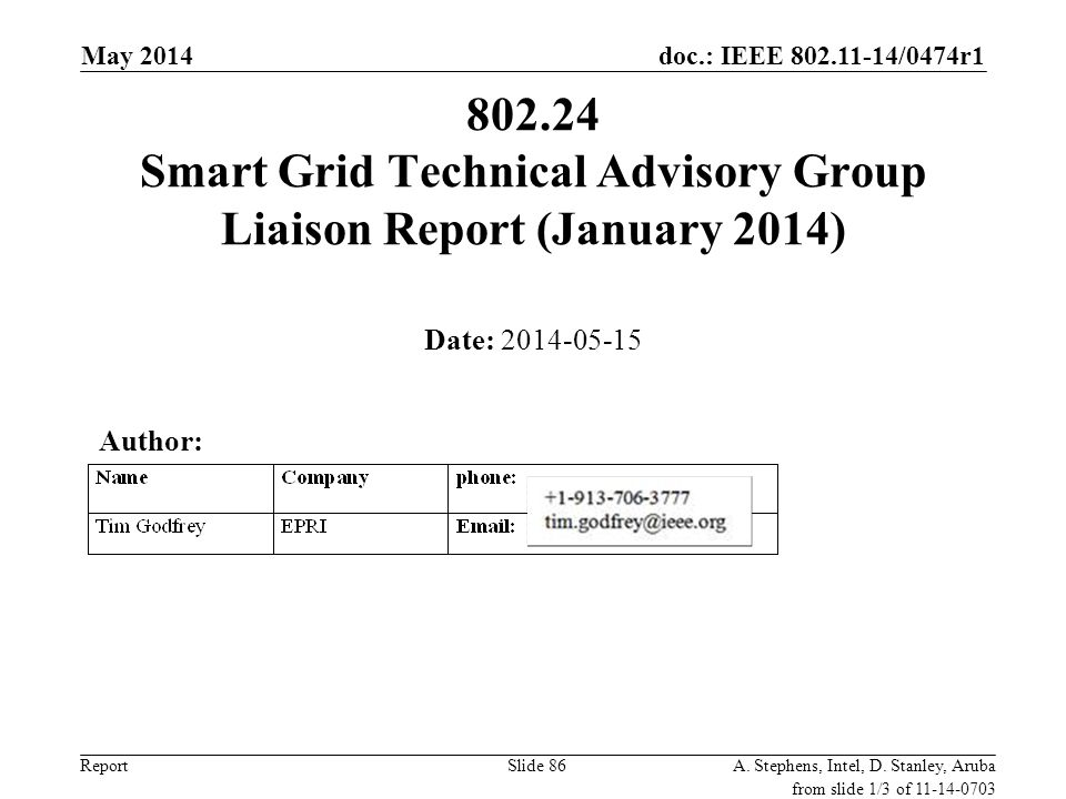 July 2010 doc.: IEEE 802.11-10/0673r0. May 2014. 802.24 Smart Grid Technical Advisory Group Liaison Report (January 2014)